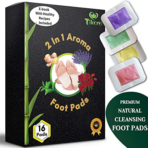 Tikoro Foot Pads  for Pain and Stress Relief - Ginger, Lavender, Green Tea, Rose | Premium Aromatherapy Feet Patches | 2 in 1 Upgraded | Natural, Organic 16 pcs ()