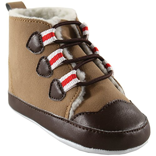 Luvable Friends Baby Winter Hiking Boots (Infant), Red Stripe, 0-6 Months M US Infant