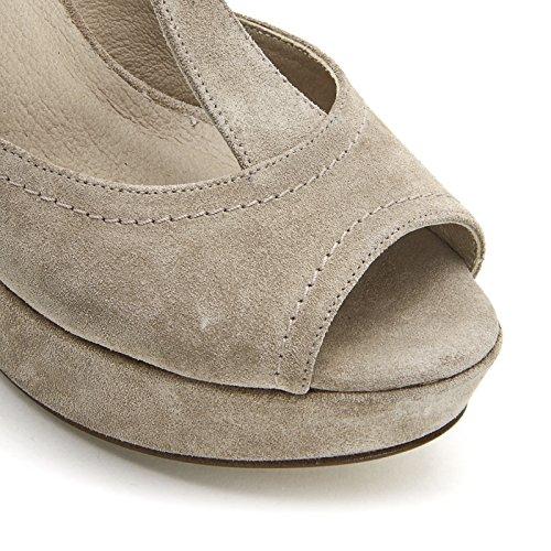 ALESYA by Scarpe&Scarpe - Sandalias altas con T-bar y plataforma, de Piel, con Tacones 10 cm Beige