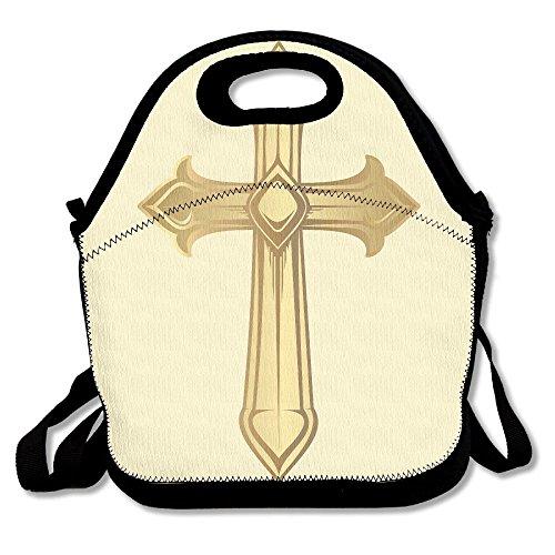 Celtic Cross Clip Art Portable Lunch Box Bag Insulated Waterproof Office Storage Handbag For Women, Adults, Kids
