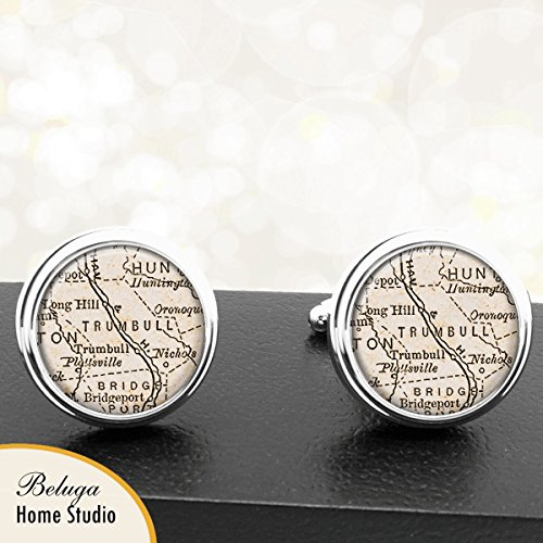 Map Cufflinks Trumbull CT Antique Map Cufflinks Handmade City Cuff Links State of - Trumbull Ct