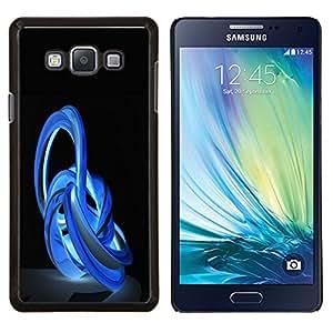 KLONGSHOP // Cubierta de piel con cierre a presión Shell trasero duro de goma Protección Caso - Imágenes abstractas en azul - Samsung Galaxy A7 A7000 //
