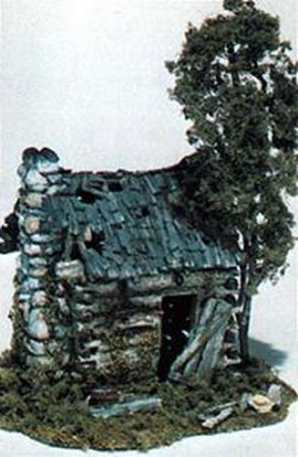 HO Abandoned Log Cabin (Ho Scale Mini Scene)