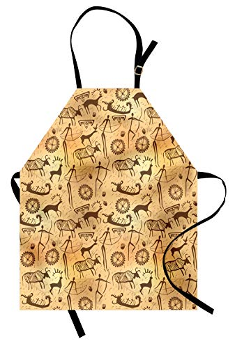 Lunarable Primitive Apron, Dated Irregular Caveman Paint Forms with Bird and Cow Shape Early Modern Humans, Unisex Kitchen Bib Apron with Adjustable Neck for Cooking Baking Gardening, Tan Brown ()