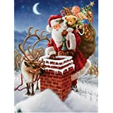 Christmas DIY 5D Diamond Painting by Number Kits, Crystal Rhinestone Diamond Embroidery Paintings Pictures Arts Craft for Home Wall Decor, Full Drill Canvas,Christmas Gift (SDJ1055-11.8x15.7in)