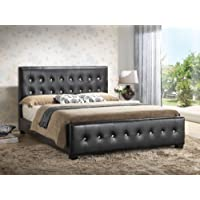 Black - Queen Size - Modern Headboard Tufted Design Leather Look Upholstered Bed