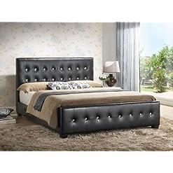 Bedroom Glory Furniture Black – Full Size – Modern Headboard Tufted Design Leather Look Upholstered Bed modern beds and bed frames