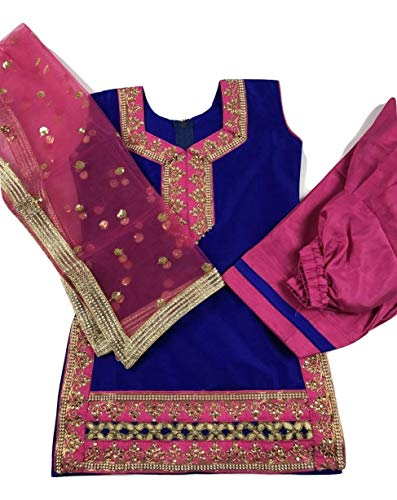 Girls/Kids Punjabi Salwar Suit Indian Wedding/Party Wear/Sangeet Dress (Blue with Pink, Indian Size 18 Fits (12 Months Old)) (Suit Blue Salwar)