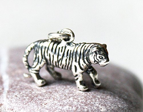 925 Sterling Silver 3D Tiger Charm