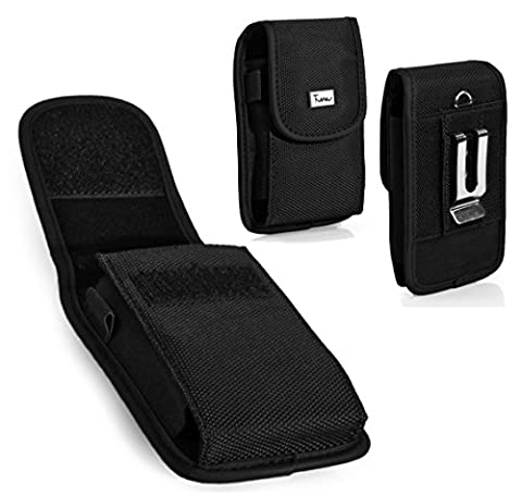 #1 Bestseller! Vertical Heavy Duty [Rugged Canvas] Strong Holster Case Pouch with Belt Clip for Motorola ic402 Blend The Blend - Ic402 Blend