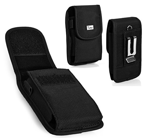 Rugged Heavy Duty Nylon Canvas Vertical EXTRA LARGE Oversize Belt Clip Case Pouch Holster for UTStarcom CDM-8630 Coupe Verizon Wireless Coupe, CDM8630 [PERFECT FITS WITH HYBRID CASE ON IT ] - Utstarcom Cdm 8630 Coupe