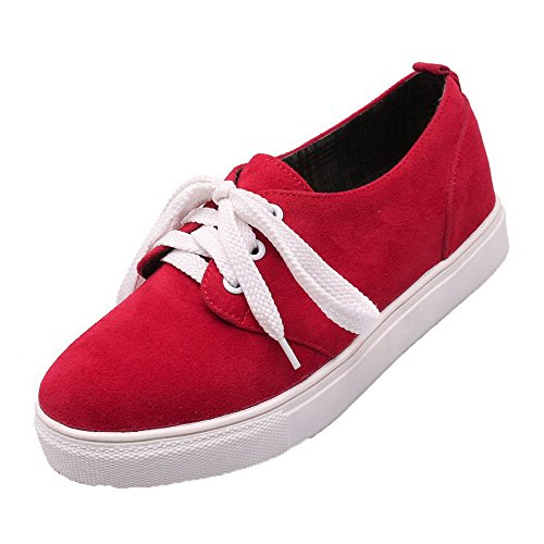 AllhqFashion Womens Solid PU Low-Heels Lace-Up Closed Round Toe Pumps-Shoes Red IkVCbLh