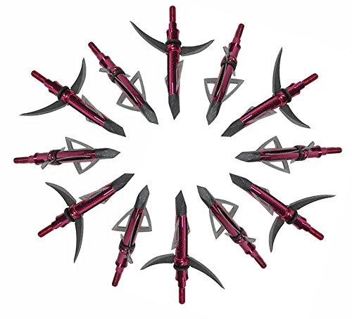 12 Pack Red Mechanical Broadheads Razor Sharp Blade Archery Broadheads Hunting Arrow Head