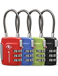 TSA Approved Cable Luggage Locks (4 Pack), 3 Digit Combination Padlock with Zinc Alloy Steel Cable Lock Ideal For Travel Suitcase, Backpack, Lockers - Black, Green, Red and Blue