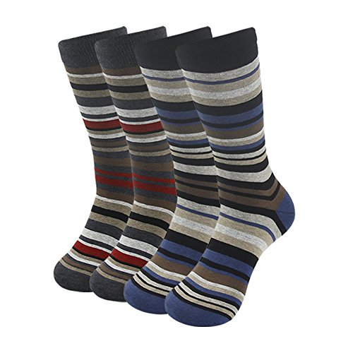 Crew Dress Casual Socks, SUTTOS Mens Ultimate 4 Pairs Colorful Stripe Ribbed Mid Calf Long Tube Athletic Crew Dressy Sock Business Suit Socks Father's Gift ()