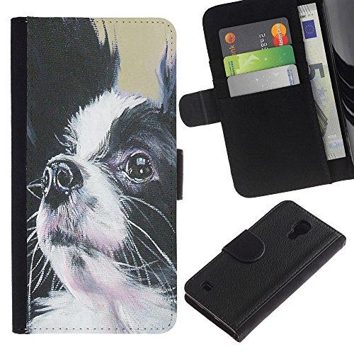 EuroCase - Samsung Galaxy S4 IV I9500 - papillon dog black white small longhair - Cuero PU Delgado caso cubierta Shell Armor Funda Case Cover