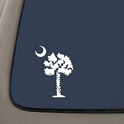 "NI191 Palmetto Tree Vinyl Decal | 6"" tall | White South Carolina Sc Palm Beach Moon Car Auto Window Sticker: Automotive"
