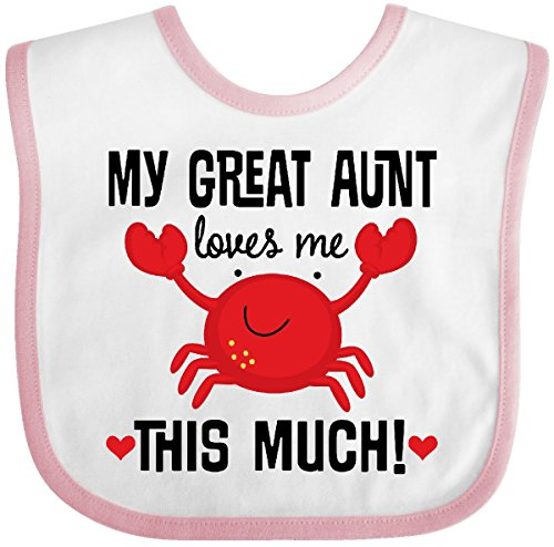 Inktastic - My Great Aunt Loves Me Baby Bib White/Pink 2e7d3