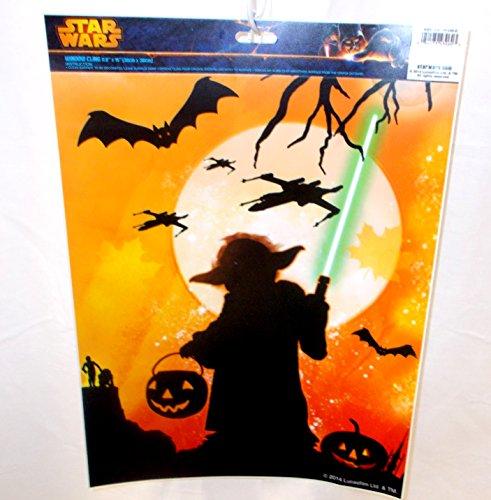 Star Wars Window Cling Yoda Light Saber Jack O Lanterns Spacecraft Bat NIP ()