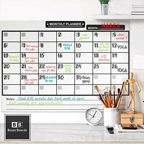 Magnetic Dry Erase Calendar for Refrigerator [17x12] & Weekly Magnetic Calendar | Monthly Whiteboard Wall Calendar and Fridge Board Planner | Dry Erase Markers & Eraser | 2019 Home or Office Photo #6
