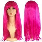 Jazooli Womens Ladies Long Straight Fancy Dress Full Hair Clip Wig Costume Cosplay Party - Dark Pink
