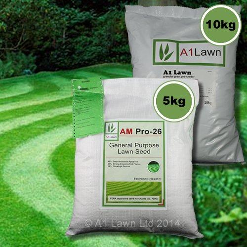5kg A1LAWN AM PRO-26 GENERAL PURPOSE GRASS SEED & 10kg PRE-SEEDER FERTILISER (MULTI-SAVE PACK)