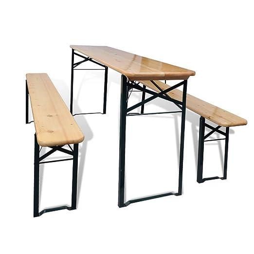 Lingjiushopping Set de mesa y bancos plegables 3 piezas madera de ...