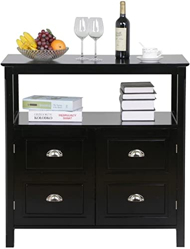 Topeakmart Black Gloss Buffet Sideboard Cabinet Table Drawer Door Open Display Shelf Cupboard Dining Room Furniture