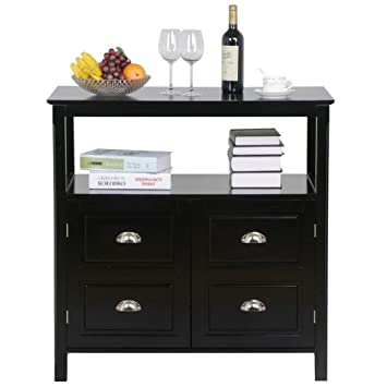 Topeakmart Black Gloss Wood Sideboard 2 Door Buffet Table With Storage Shelf Dining Room Furniture