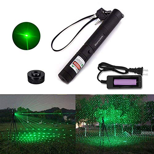Tactical Green Hunting Rifle Scope Sight Laser Pen Demo Remote Pen Pointer Projector Travel Outdoor Flashlight LED Interactive Baton Funny Laser toy Hurryzon Green laser ()