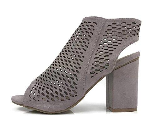 Bella Marie Sandalo Open Toe Mule Con Cut Out Perforati Stivaletto Alla Caviglia Bootie Accatastato Tacco Grosso Lilla