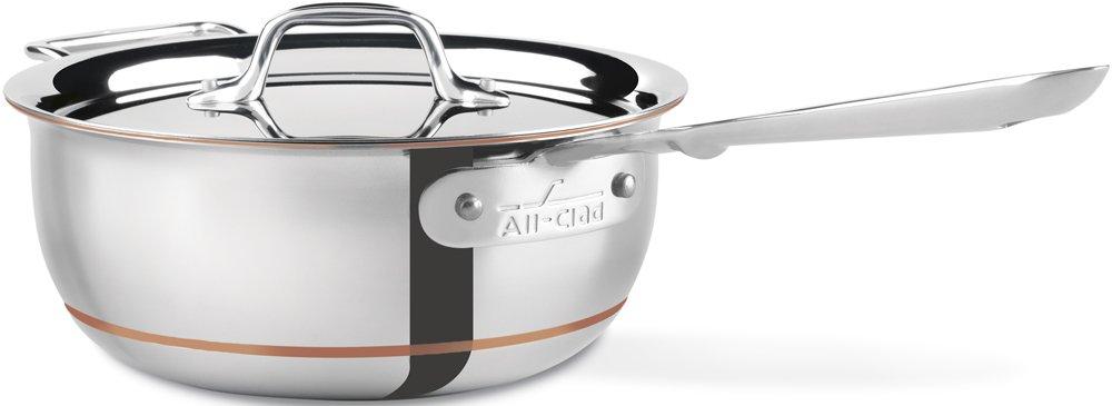 All-Clad 6213 SS Copper Core 5-Ply Bonded Dishwasher Safe Saucier / Cookware, 3-Quart, Silver