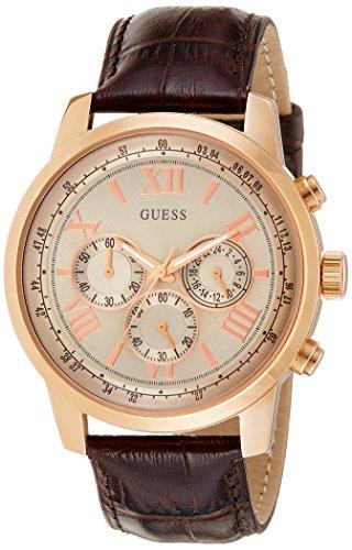 Guess Herren-Armbanduhr Analog Quarz Leder W0380G4