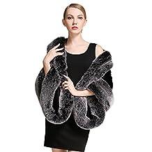 BEAUTELICATE Women's Party Faux Fox Fur Long Shawl Cloak Cape Coat-S64 (Black Gray Fox)