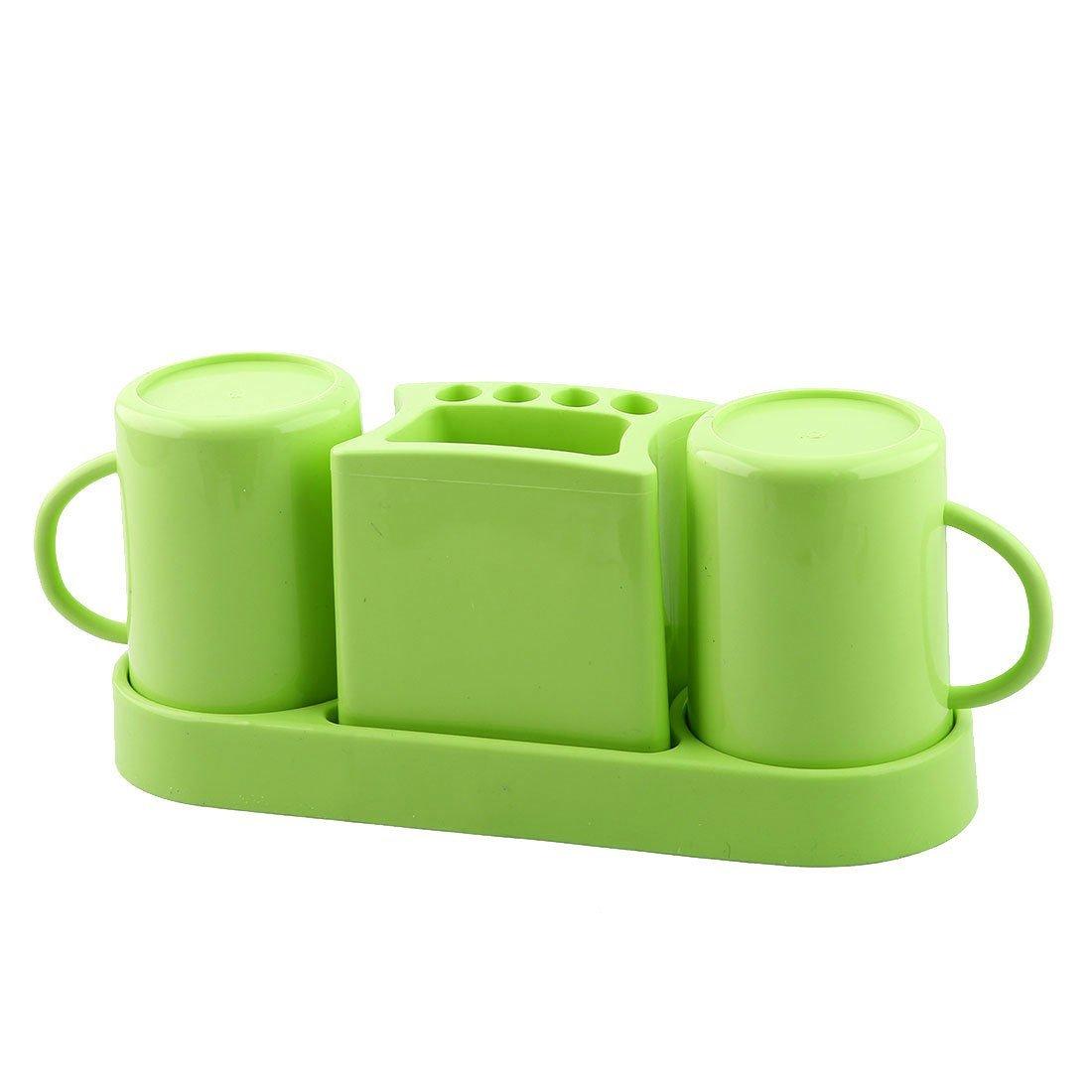 Amazon.com: eDealMax plástico de baño cepillo de dientes Pasta de dientes soporte del caso del organizador del sostenedor del estante Verde Conjunto: Home & ...