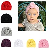Udobuy 7 Pcs Headband Updated Version Baby Hat- Newborn Baby Girl Soft Cute Turban Knot Rabbit Hospital Hat (7 Pcs Set Knotted Hat)