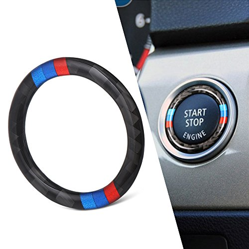 AndyGo Car Engine Start Stop Ignition Key Ring Stickers For BMW E90 E92 E93 2009-2012 Accessories