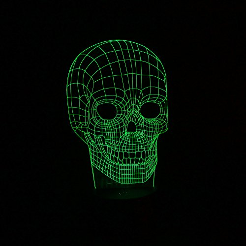 [ANGROC Creative LED 3D Skull Optical Illusion Decoration Lighting for Halloween Holiday Time, Perfect Night light for Kids,children, Stunning Decorative Desk Lamp mood lighting for] (Halloween Costumes Gallery)