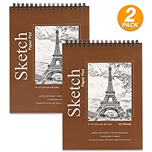 Premium Sketch pad, 6″ x 8″ Top Bound Spiral Drawing Pad. to Use with Pens, Markers, Pencils for Writing, Drawing & Sketching – 50 Sheets Per pad (Pack of 2) – Emraw