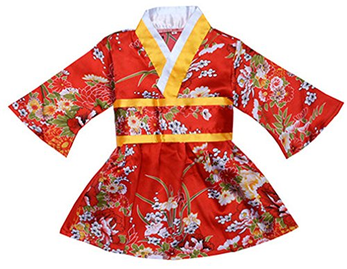 FANCYKIDS Japanese Girls Toddler Baby Kimono Robe Dress Outfit Costume (1 to 2 Years Old, Red Flowers)