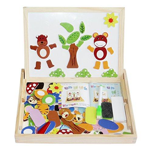 homyl木製教育玩具磁気図面ボードアートイーゼル動物ジグソーパズルDry Eraseダブルサイド磁気ボードゲームおもちゃfor Kids