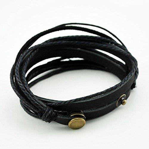 inégale en performance Prix usine 2019 meilleure collection Abbyabbie.Li Unisex Genuine Leather Cuff Wrap Bracelet Rope ...
