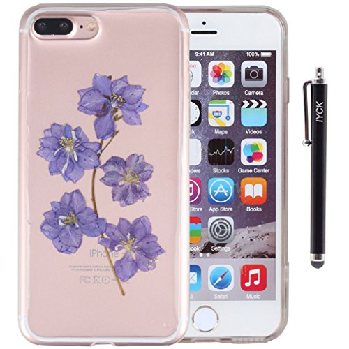 iPhone 8 Plus Case, iPhone 7 Plus Case, iYCK Handmade [Real Dried Flower] Pressed Floral Flexible Soft Rubber Gel TPU Protective Shell Back Case Cover for iPhone 7/8 Plus 5.5inch - Purple Flower