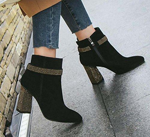 Chunkly cm Casual 8 Black Nuevo Taladro Eu Zapatos Heel Martin Seude Botas Invierno Vestido Botines Flash 5 Otoño Square 2017 33 43 Talón Corte Toe Zapatos Tamaño Mujeres Zapatos Zipper EqwAqIXU