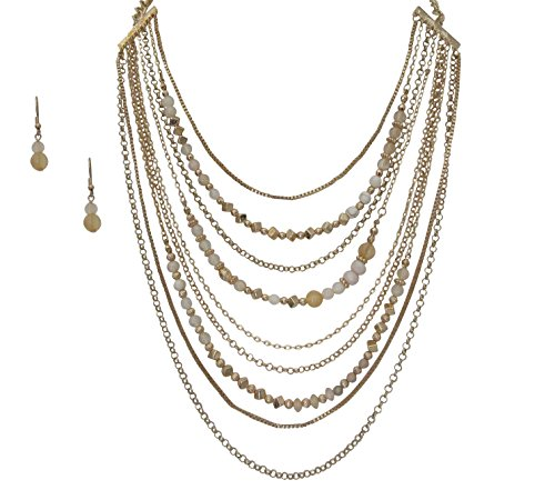 Beaded Gold Tone Jewelry Set (Gold Tone Multilayered Beaded Necklace Earring Jewelry Set for Women)