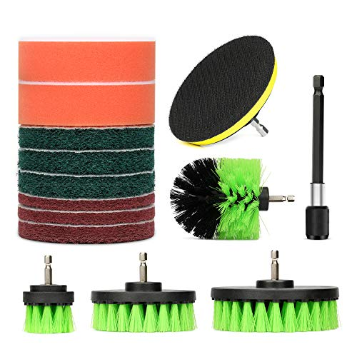 Drill Brush Attachment Set, GALAX PRO 13 Pieces Power Scrubber Pads Cleaning Brushes Kits with one Extender for Shower, Bathroom, Carpet, Grout, Tiles, Sinks, Car
