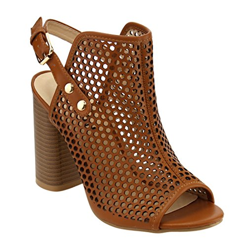 Beston FH21 Women's Slingback Peep Toe Bootie Sandals, Color:TAN, Size:7 Brown Leather Slingback