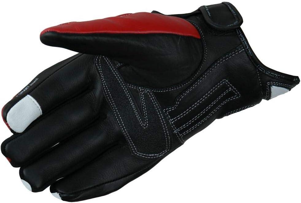 XL HEYBERRY Motorradhandschuhe Leder Motorrad Handschuhe kurz schwarz rot Gr