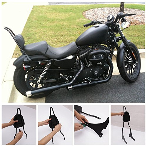 INNOGLOW Motorcycle PU Backrest Passenger Pad Driver Rider Sissy Bar Backrest Mount Seat Pad Fits For Harley Sportster XL883 XL1200 04-UP (Black) by INNOGLOW (Image #6)