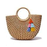JOLLQUE Hand Woven Womens Beach Grass Tote Bags, Natural Straw Handbag Purse (Grass-2)